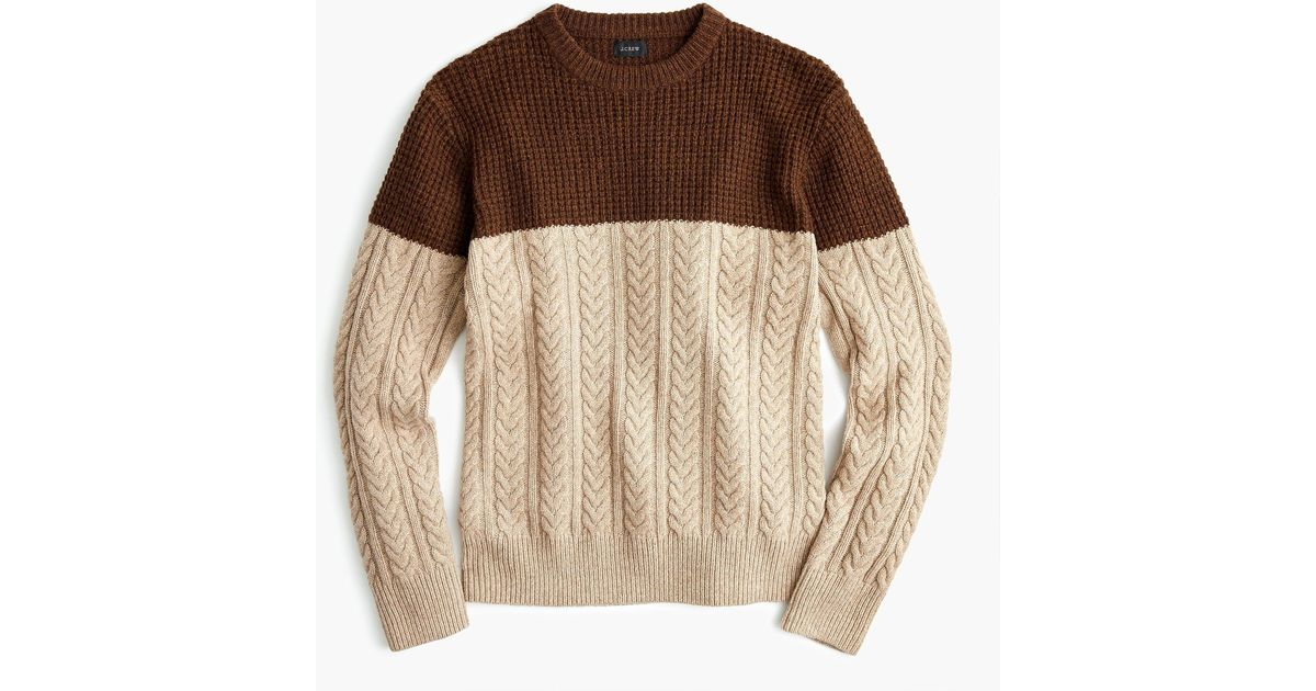 1b5c7b0243edf6 J.Crew Rugged Merino Wool Mixed-knit Crewneck Sweater in Brown for Men -  Lyst