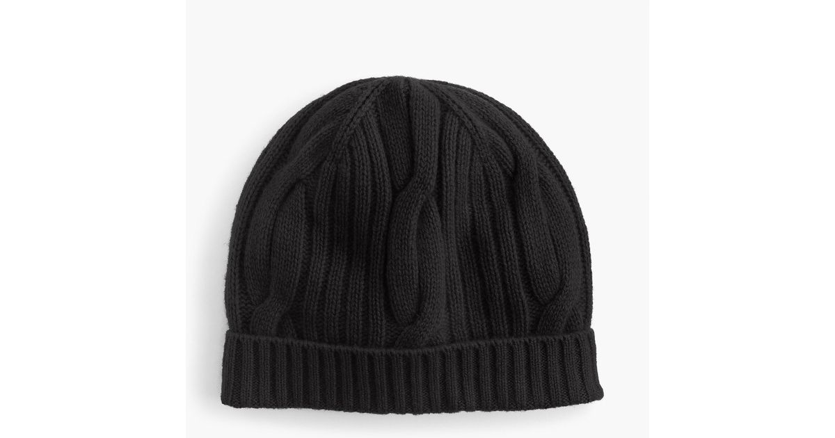 e66cb2a0689cf J.Crew Ribbed Cable-knit Beanie In Everyday Cashmere in Black - Lyst