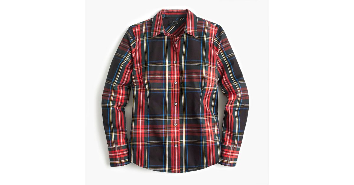 cd86df699e2b Lyst - J.Crew Tall Curvy Slim Stretch Perfect Shirt In Stewart Tartan in Red