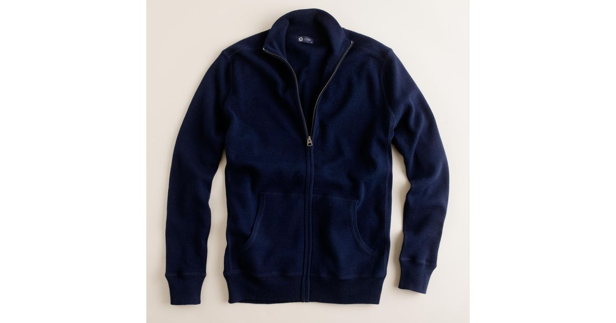 J.crew Cotton-cashmere Zip Sweater-jacket in Blue for Men | Lyst