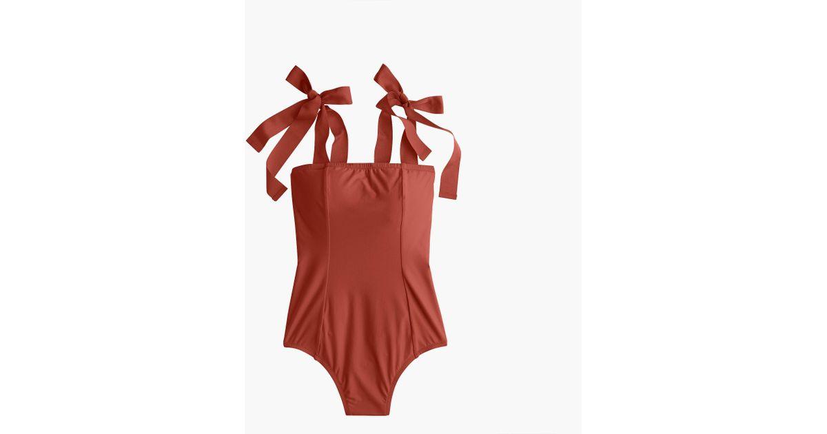 c67fb50995 Lyst - J.Crew Grosgrain Tie-shoulder One-piece Swimsuit in Red