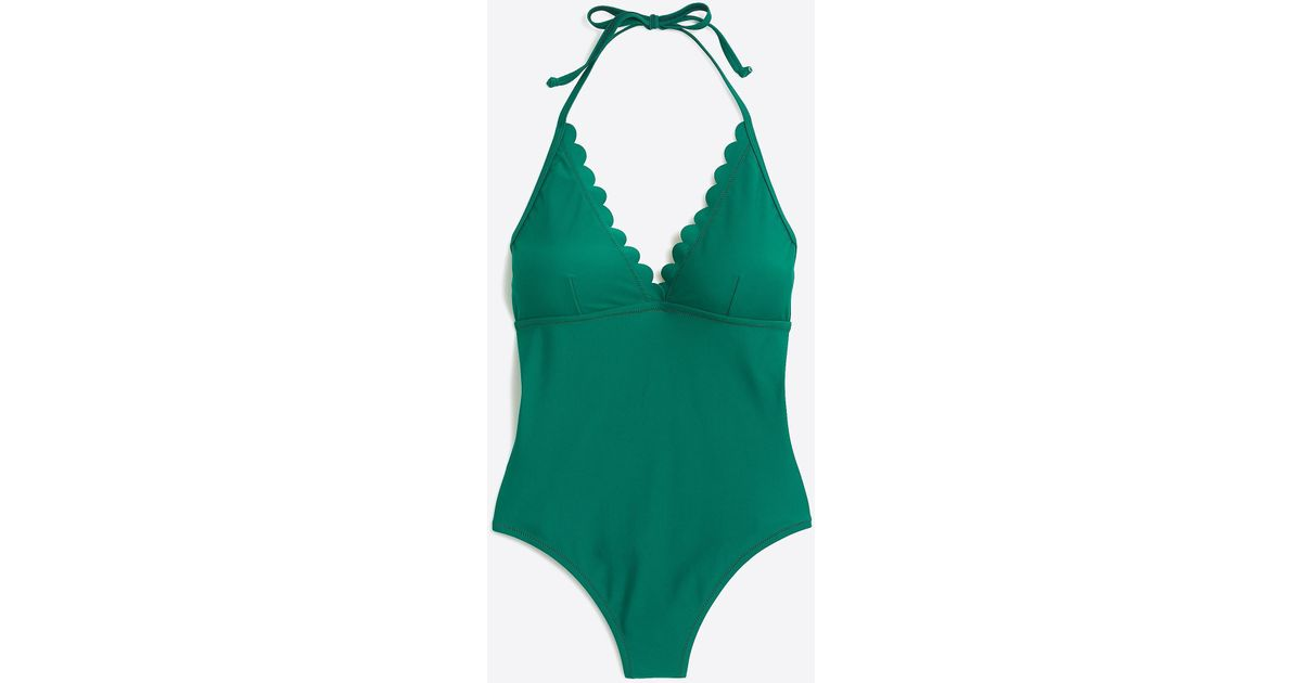b6e4cfd5feb J.Crew Scalloped Plunge V-neck One-piece Swimsuit in Green - Lyst