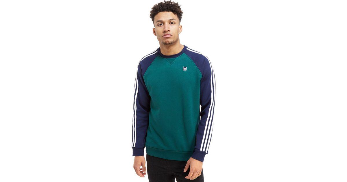 5ab7648b5a58 adidas Originals Skateboarding Raglan Crew Sweatshirt in Blue for Men - Lyst