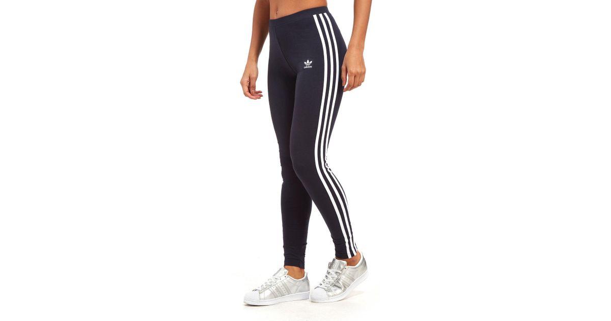 6c14892eb30 adidas Originals 3-stripes Leggings in Blue - Lyst