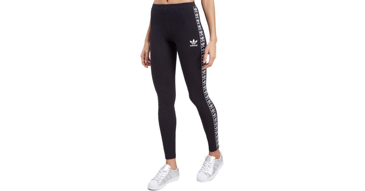 209ee8922b3e18 adidas Originals Tape Leggings in Black - Lyst