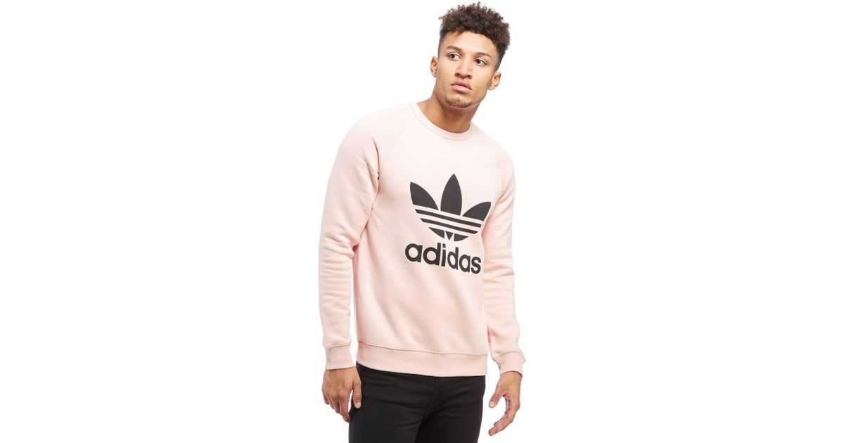 d1b2a1d0959a adidas Originals Trefoil Crew Sweatshirt in Pink for Men - Lyst