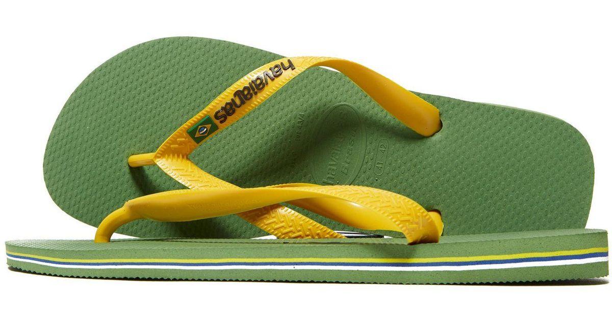ed1e51263df4 Lyst - Havaianas Brazil Logo Flip Flops in Green for Men