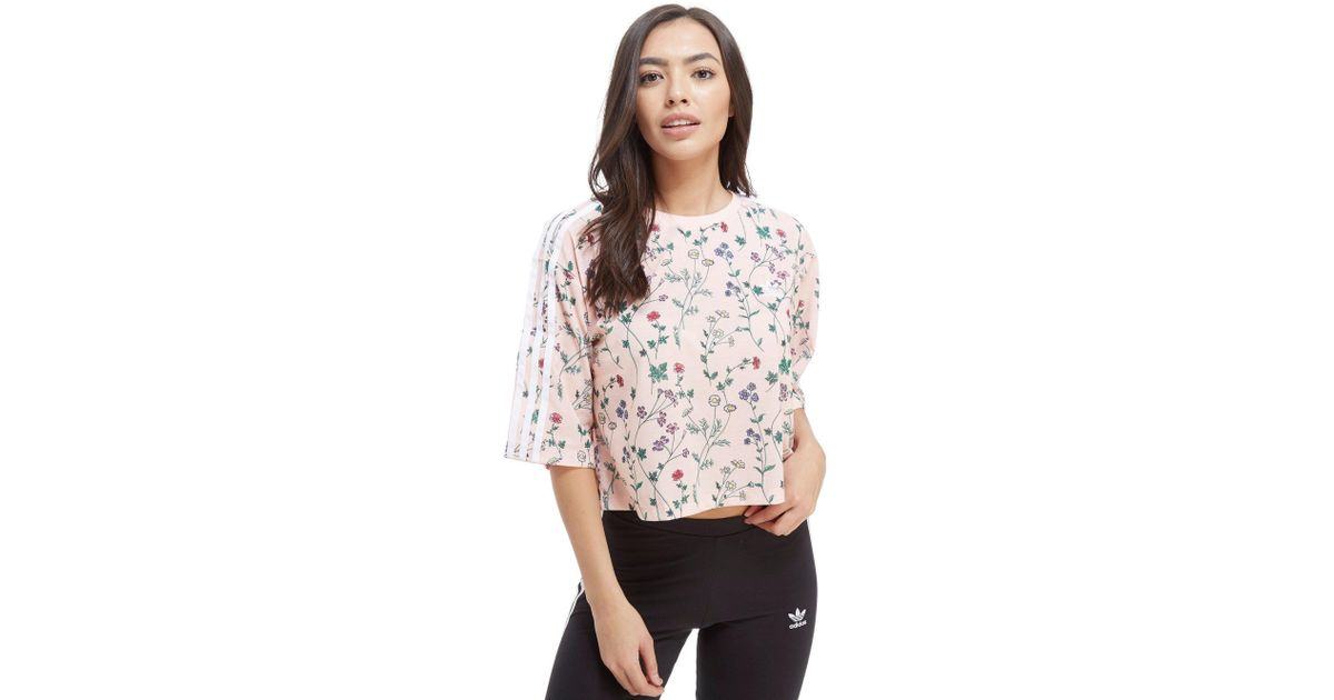 839f60842cb2 Lyst - adidas Originals All Over Print Floral Crop T-shirt in Pink