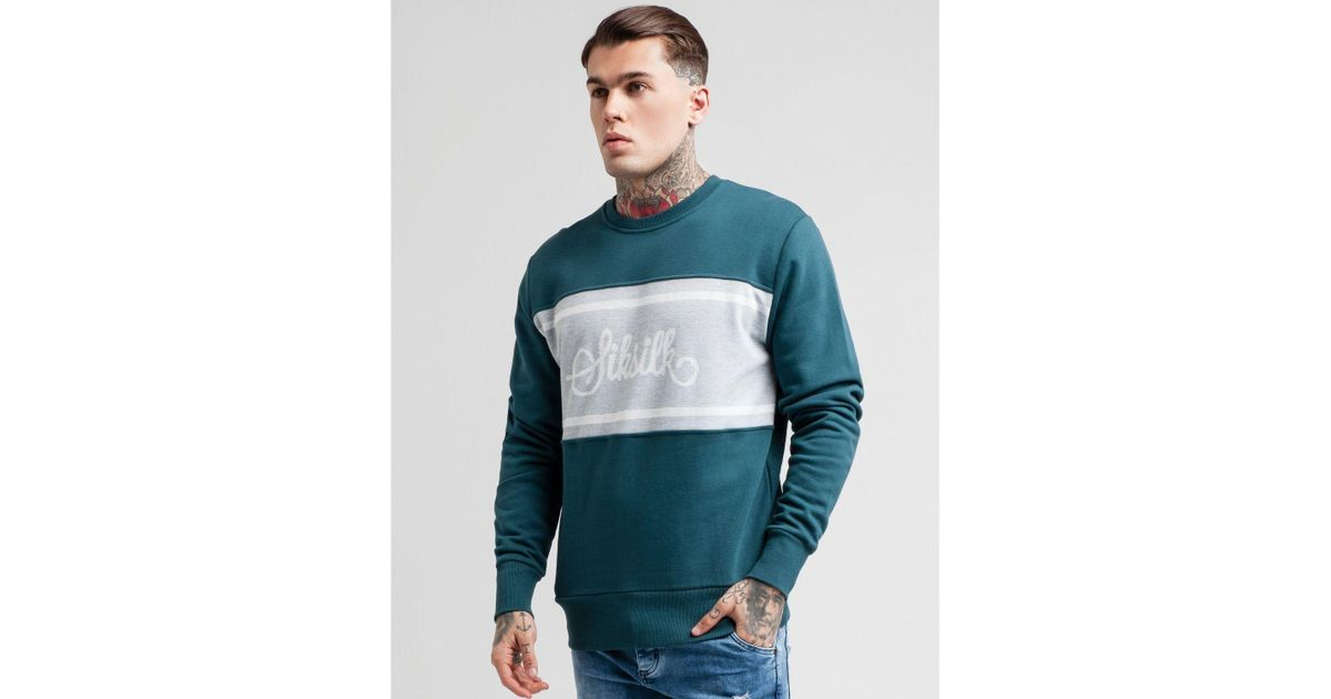 358c57c31d8 Lyst - SIKSILK Central Panel Crew Sweatshirt in Green for Men