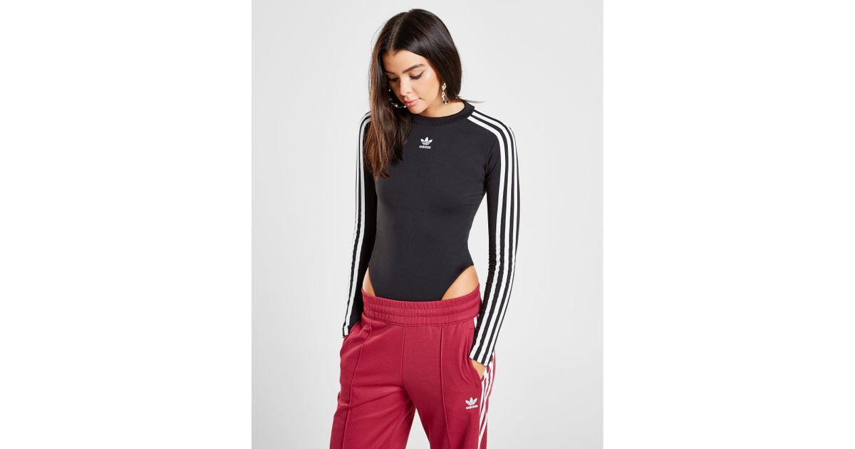 a83b2cf7313823 adidas Originals 3-stripes Long Sleeve Bodysuit in Black - Lyst