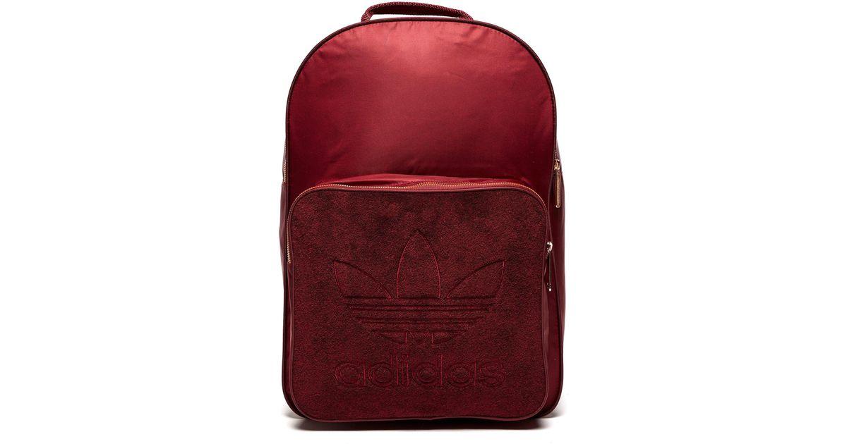 a1b04f307dda Adidas Originals Classic Velour Backpack in Red - Lyst