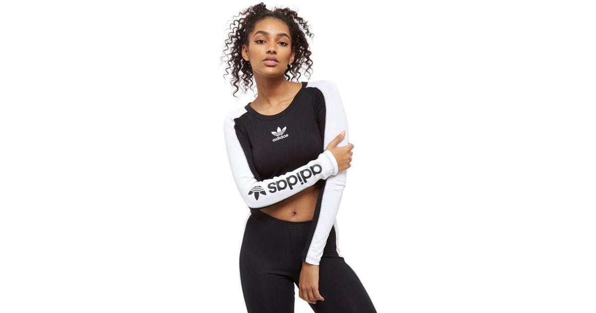 b40ef92b6e9 adidas Originals Linear Long Sleeve Crop Top in Black - Lyst