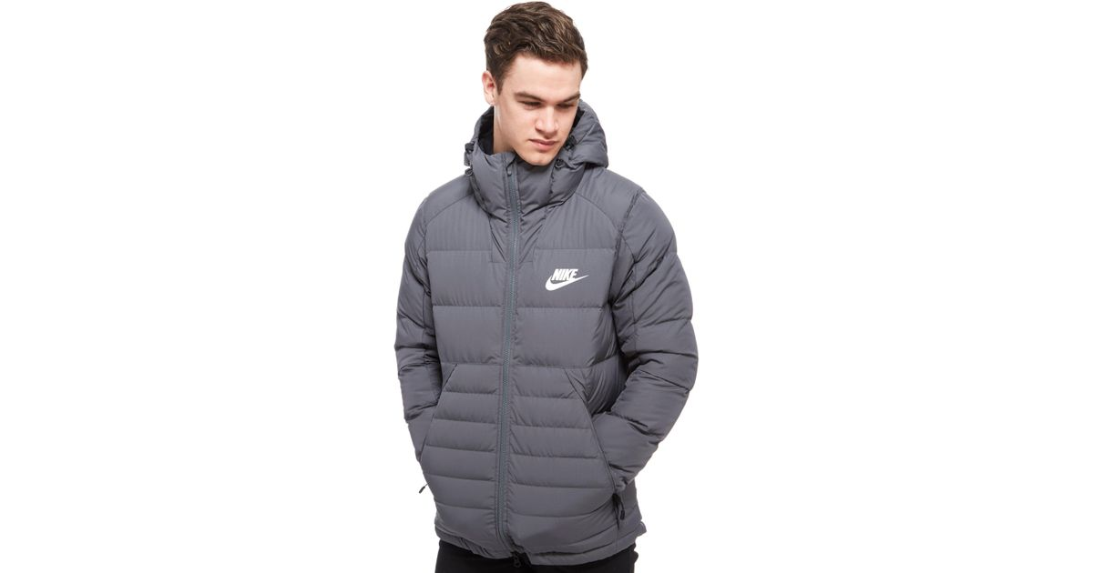 4ea0099585fc Lyst - Nike Padded Down Hooded Jacket in Gray for Men