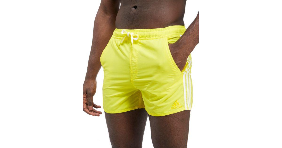 9b7aef6b8128 adidas 3-stripe Swim Shorts in Yellow for Men - Lyst