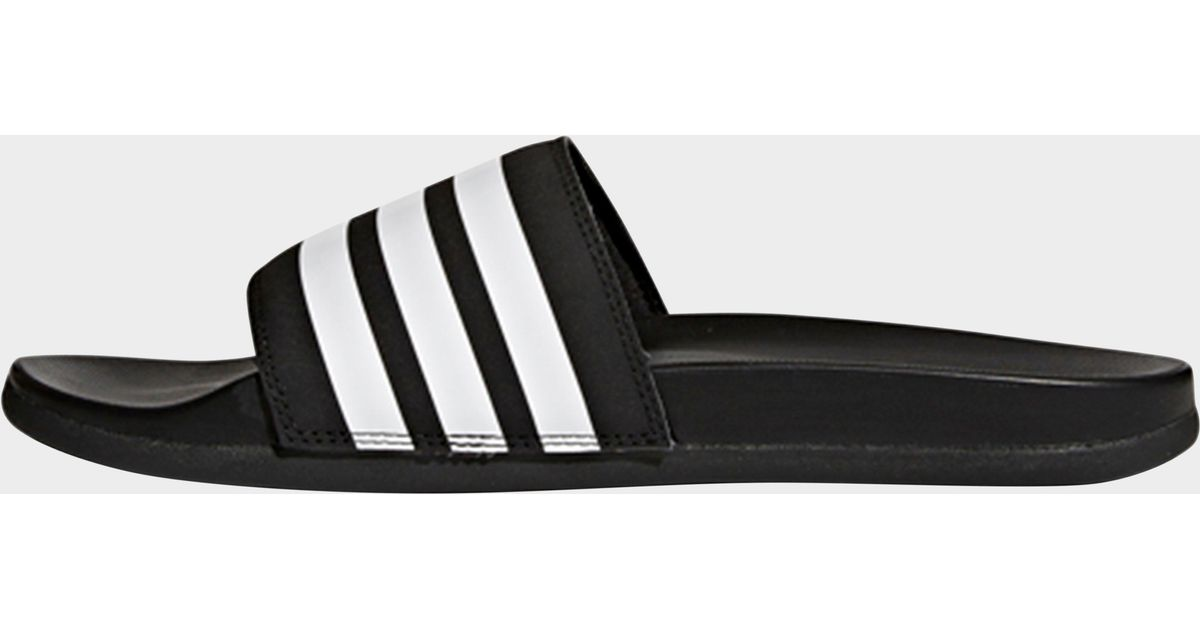 f006df2dd091a8 adidas Adilette Cloudfoam Plus Stripes Slides in Black for Men - Lyst