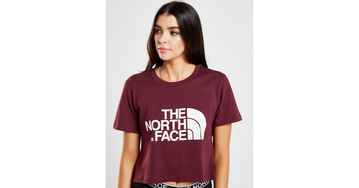 The North Face Crop Logo T-shirt in Purple - Lyst 16c460ec5