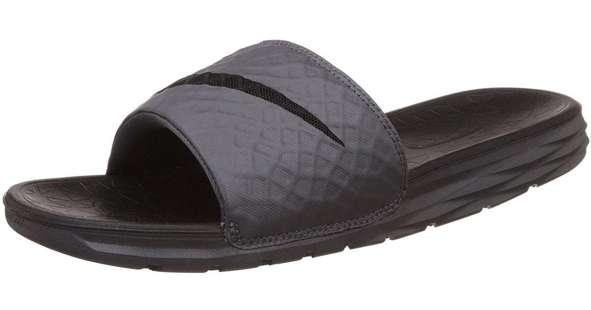 e6c0a3a696e Lyst - Nike 705474-090   Benassi Solarsoft Slide Sandal Dark Grey black in  Black for Men