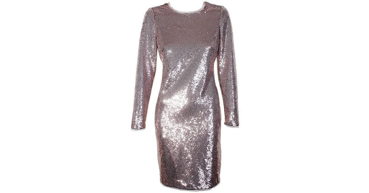 9da241ff Lyst - Calvin Klein Rose Sequin Long-sleeve Sequined Knee Length Sheath  Dress 4 in Pink