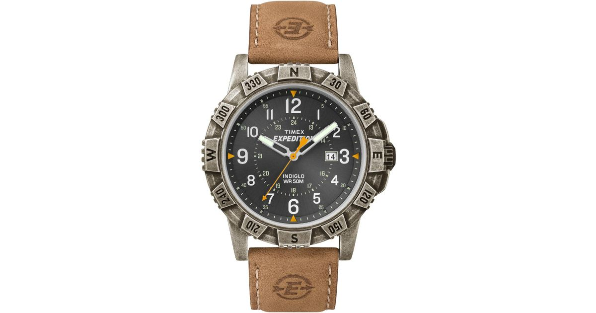 Timex Multicolor Expedition Rugged Field Black Dial Tan Leather Watch For Men Lyst