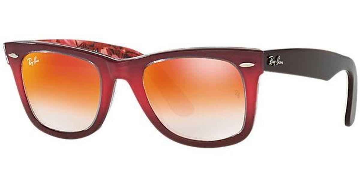 afb1af28eaa8 Lyst - Ray-Ban Original Wayfarer Floral Brown Orange Lenses in Brown