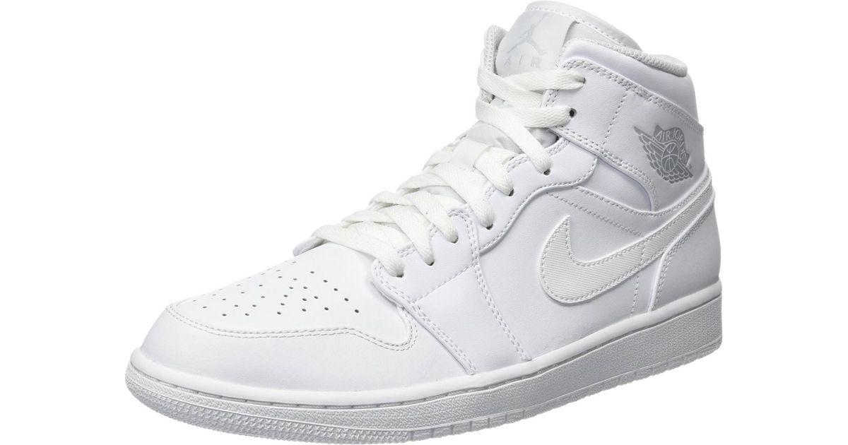 info for ba3f5 a0138 Lyst - Nike Jordan Air Jordan 1 Mid White pure Platinum White Basketball  Shoe (11.5 D(m) Us) in White for Men