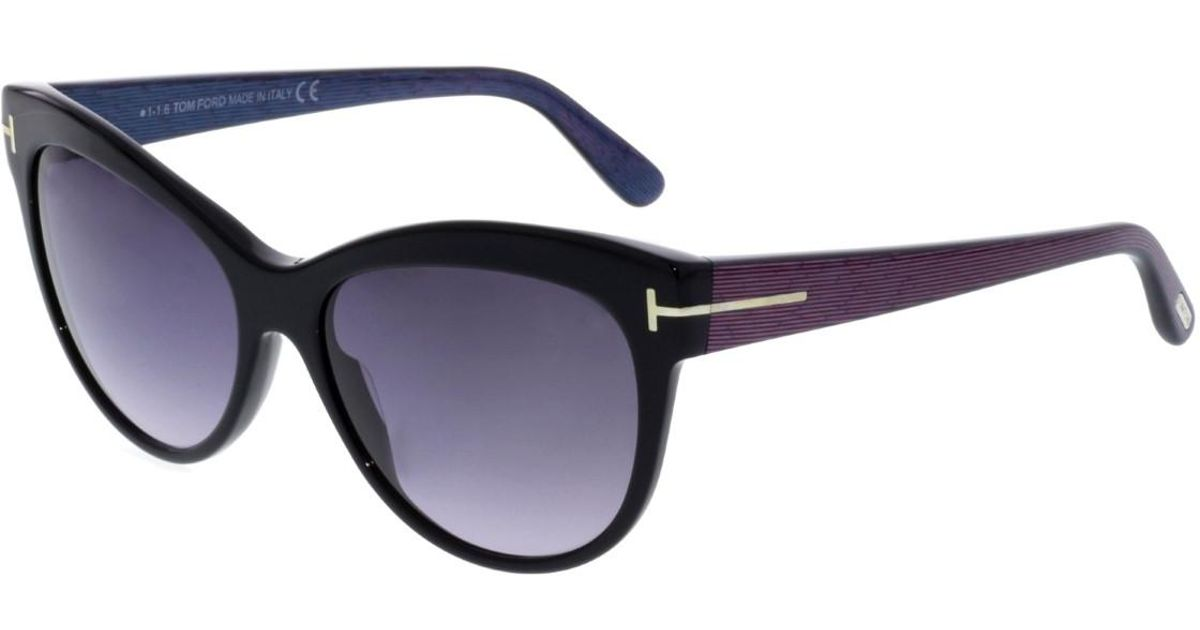 17ecdce071e Lyst - Tom Ford Lily Ft0430-05b-56 Black Cat Eye Sunglasses