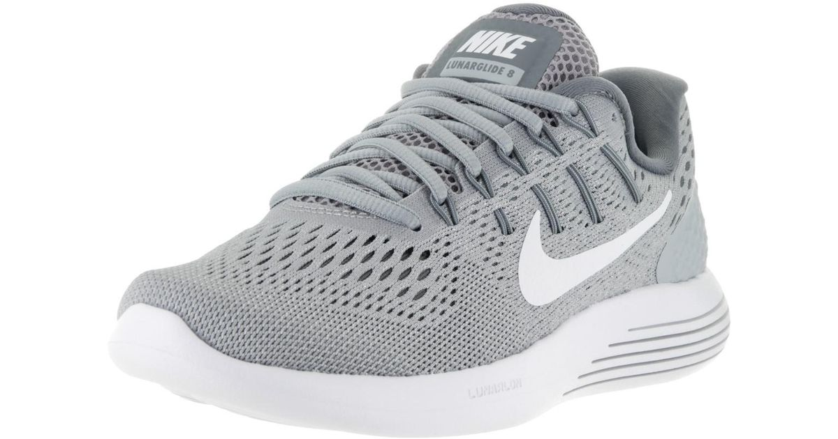 bca58afad7e4 Lyst - Nike Lunarglide 8 Wolf Grey white Cool Grey Running Shoe 5 Women Us  in Gray