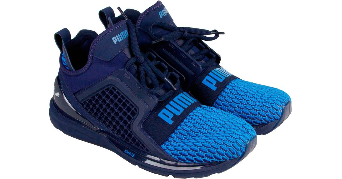 a98ae08c9b47 Lyst - PUMA Ignite Limitless Colorblock Peacoat French Blue Mens Athletic Running  Shoes in Blue for Men