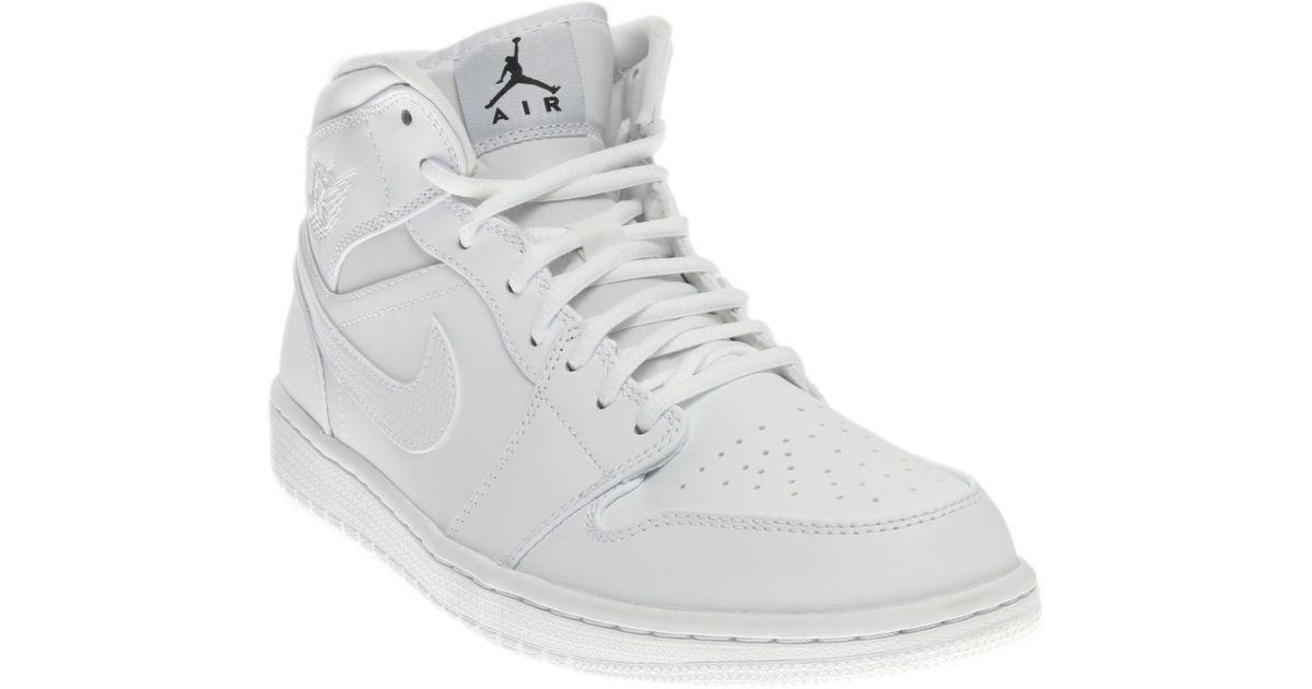 f3cb77a6a4bce1 Lyst - Nike Jordan Air Jordan 1 Mid White black white Basketball Shoe 9.5  Men Us in White for Men