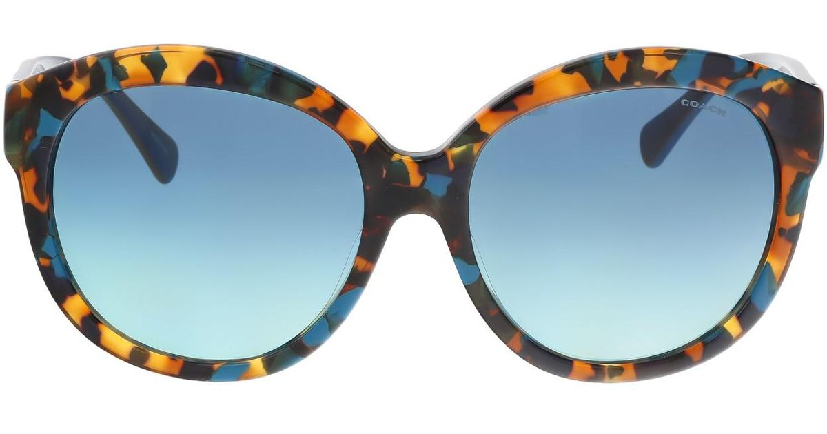 7ecbb727ccf90 ... free shipping lyst coach hc8159f 53374s teal confetti round sunglasses  in blue 4eeb1 ac398