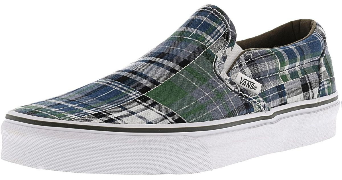 b4f83eee93b12c Lyst - Vans Classic Slip-on Plaid Patchwork Blue Ankle-high Canvas  Skateboarding Shoe in Blue for Men