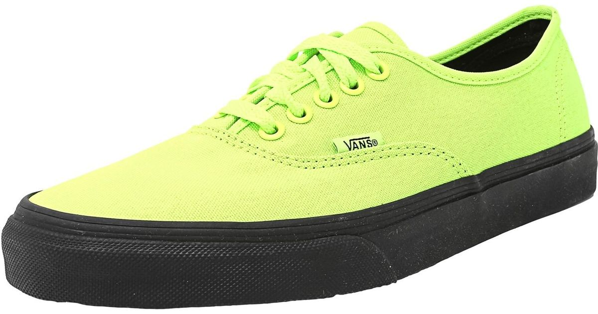 c980e1d6f6be45 Lyst - Vans Authentic Black Outsole Neon Green   Ankle-high Canvas Fashion  Sneaker in Green for Men