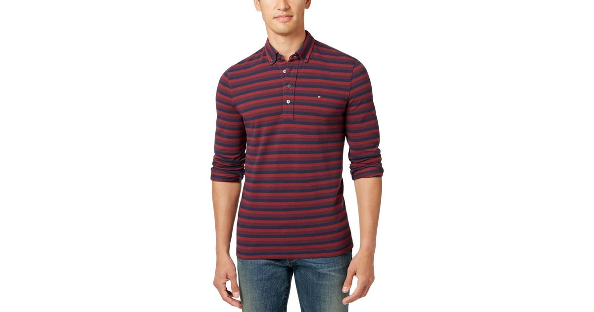 cb22d2fdd4 Lyst - Tommy Hilfiger Vanderbilt Knit Striped Polo Shirt in Red for Men