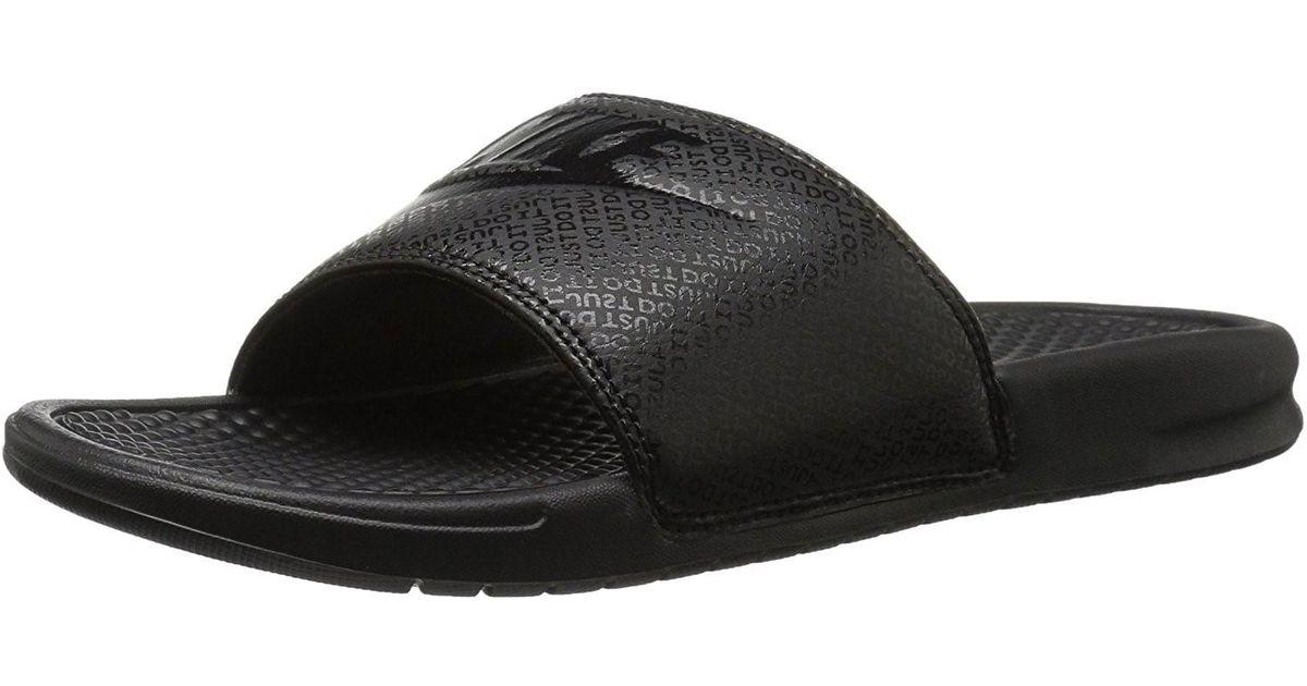 newest 3368e bd178 Lyst - Nike 343880-001 Benassi Blackblack Sliders Sandals Flip Flops in  Black for Men