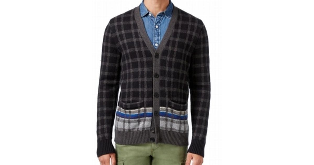 Tommy hilfiger Mens Button-down Front Plaid Cardigan Sweater in ...