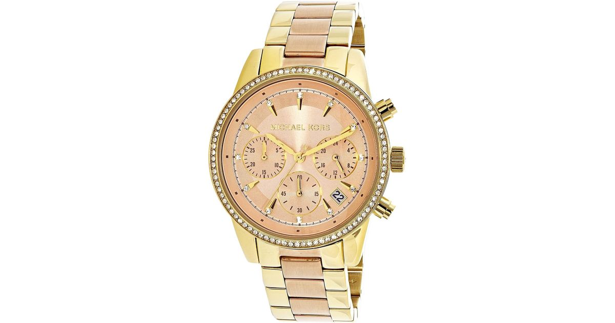 33d3cdb7f870 Lyst - Michael Kors Ritz Rose Dial Ladies Chronograph Watch Mk6475 in  Metallic for Men