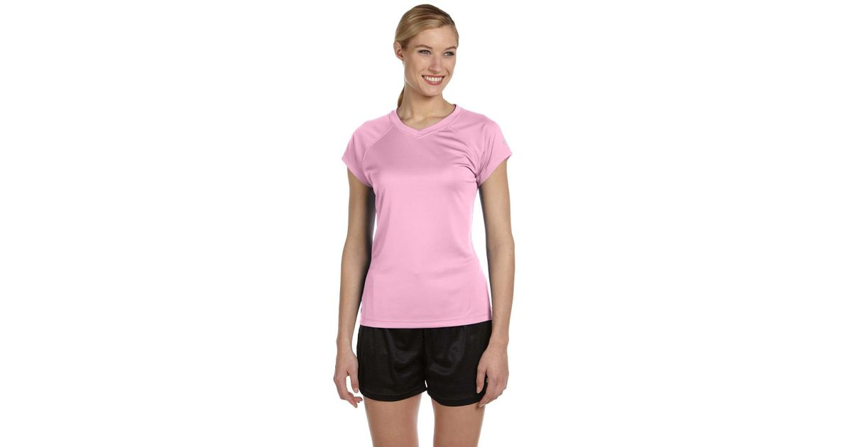 24fadc6e031a Lyst - Champion Ladies Double Dry V-neck Performance T-shirt. Cw23 in Pink