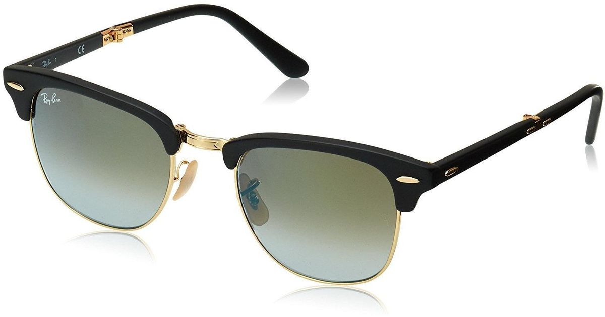 1134f04dc86 Lyst - Ray-Ban Clubmaster Folding Sunglasses Black Matte green Acetate -  Rb2176-901s9j-51 in Black