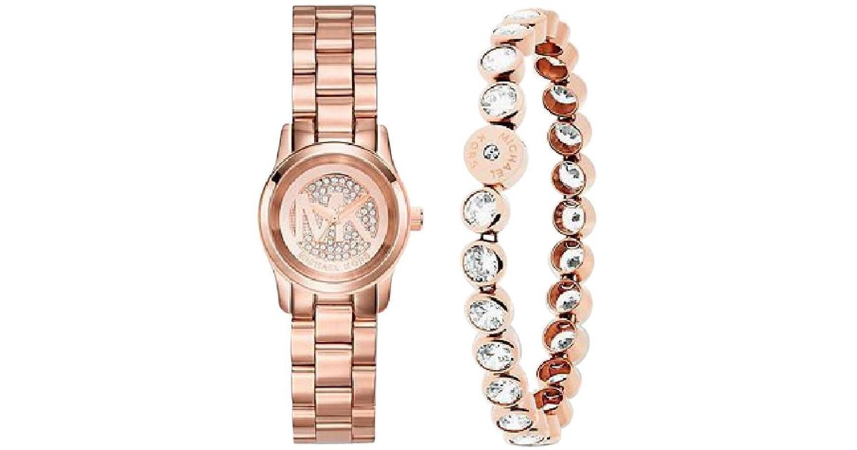 Lyst Michael Kors Mini Pee Rose Gold Tone Watch With Bracelet Mk3670 In Metallic