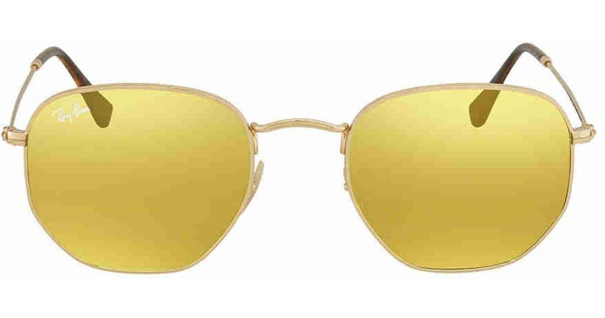 61feed3771 Lyst - Ray-Ban Ray Ban Round Yellow Flash Sunglasses Rb3548n 00193 51 in  Metallic