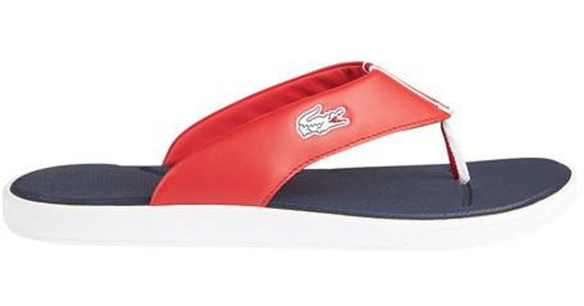 5f02e54ec584d8 ... promo code 4afea 47379 Lyst - Lacoste L.30 Leather Flip Flop in Red for  ...