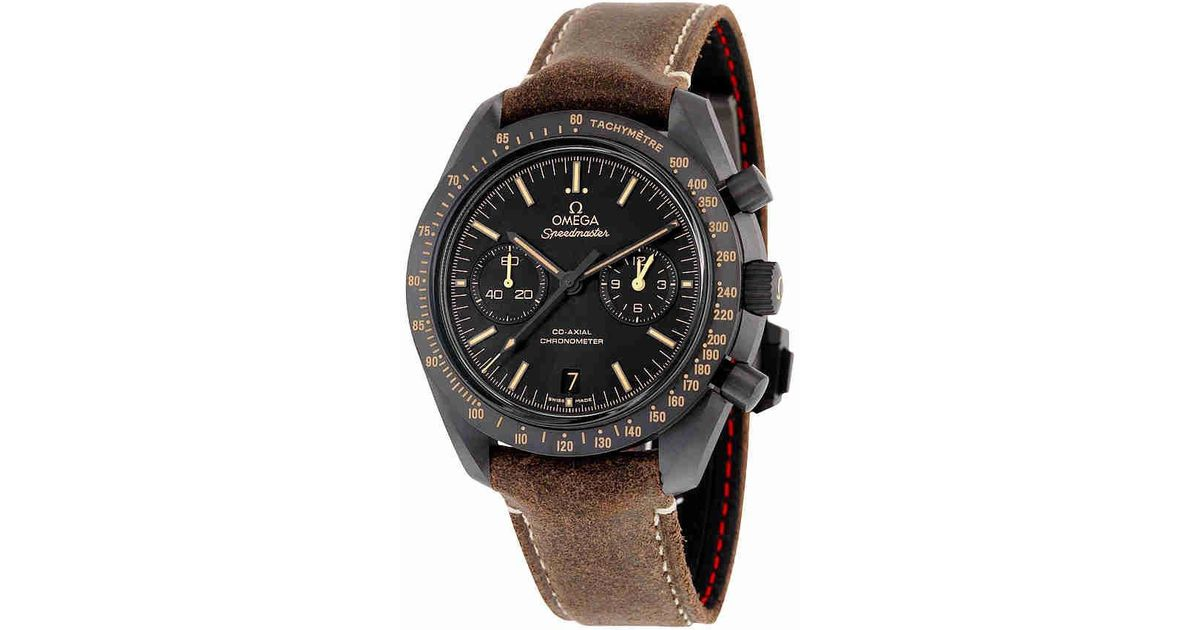 de6b7ffff73 Lyst - Omega Speedmaster Moonwatch Co-axial Chronograph Automatic Black  Dial Watch 31192445101006 in Brown for Men