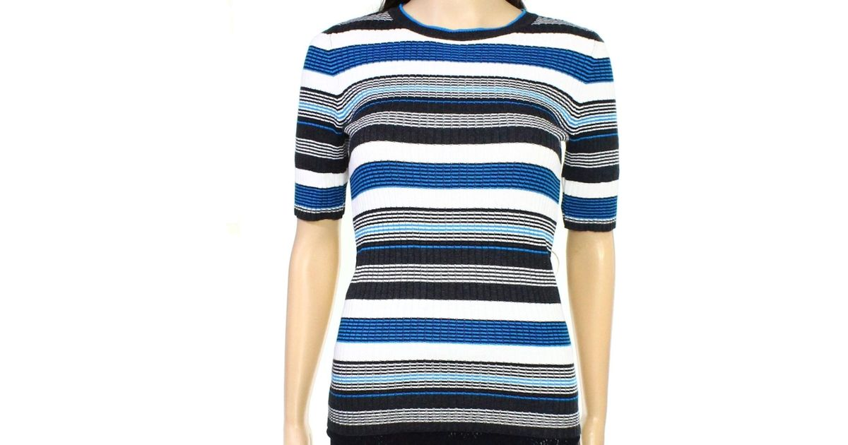 4b8bec5d88 Lyst - Tommy Hilfiger Blue White Xl Crewneck Striped Sweater Knit Top in  Blue