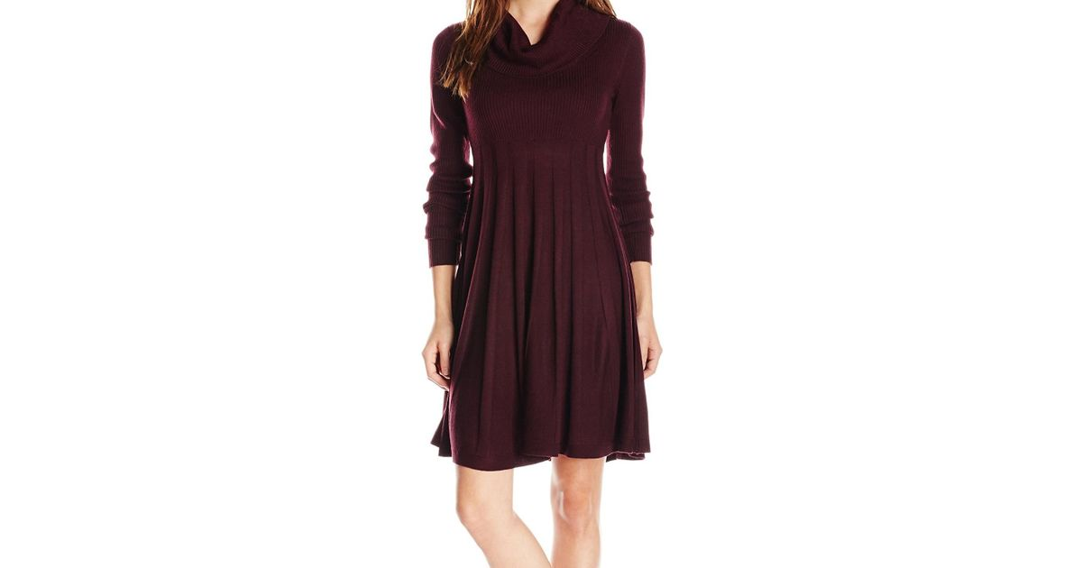 0711febec3a Lyst - Calvin Klein Purple Women Size Pxs Petite Cowl Neck Sweater Dress in  Purple