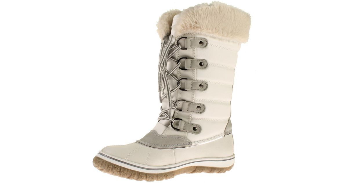 71ce62f1cc2 Steve Madden - White Slushee Faux Leather Faux Fur Snow Boots - Lyst