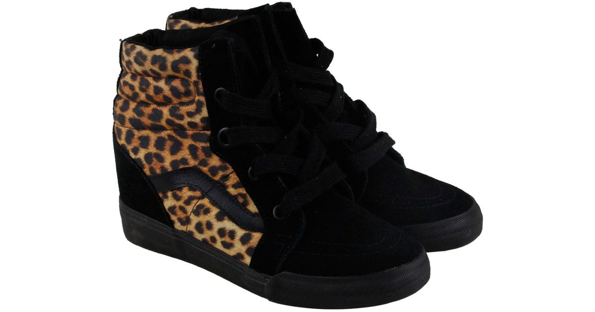 111869e8 Vans - Black Sk8 Hi Wedge Leopard High Top Sneakers - Lyst