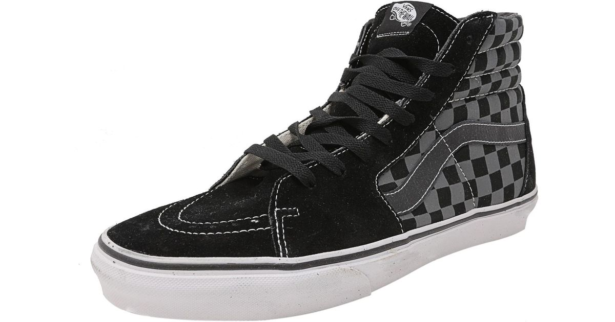 vans sk8 hi black pewter checkerboard