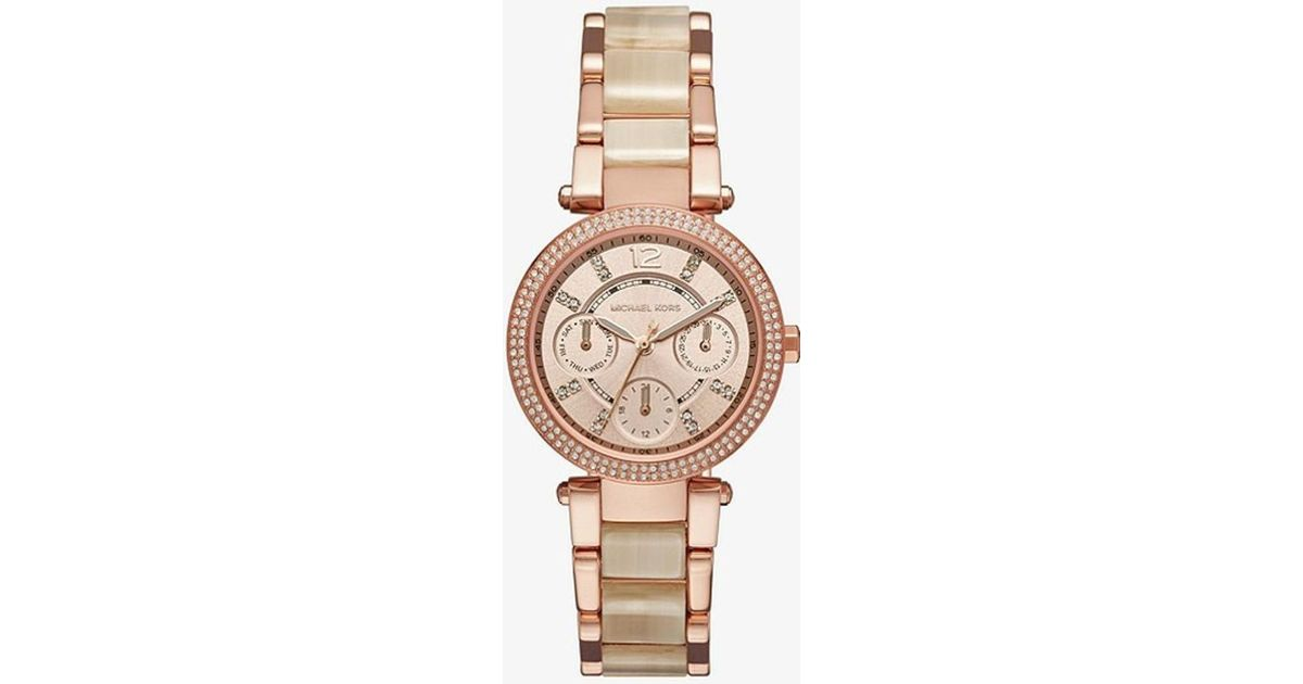 03ff1b98a Lyst - Michael Kors Parker Rose Gold Crystallized Watch Mk6512 in Metallic