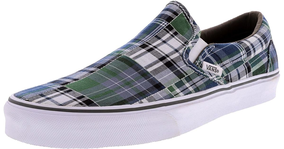 330c8beb96 Lyst - Vans Classic Slip-on Plaid Patchwork Ankle-high Canvas Skateboarding  Shoe - 11m in Blue for Men