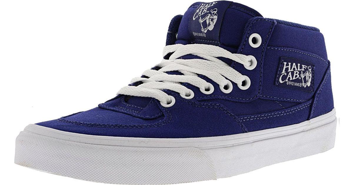 Lyst - Vans Half Cab Canvas Blueprint   True White Mid-top Skateboarding  Shoe in Blue for Men a3a0284f9